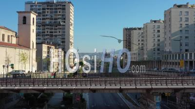 Low Traffic On Highway A7 In Marseille City At Day 24 Of Covid-19 Outbreak, France - Video Drone Footage