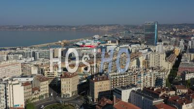 Marseille City Skyline At Day 24 Of Covid-19 Outbreak, France - Video Drone Footage