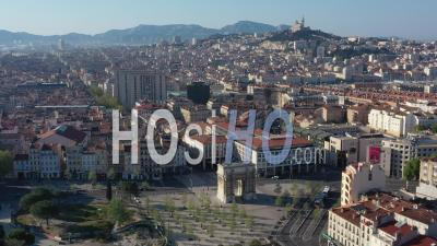Porte D'aix In Marseille City At Day 24 Of Covid-19 Outbreak, France - Video Drone Footage