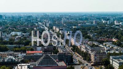 Trafic à Aleja Niepodleglosci, Varsovie, Vidéo Drone