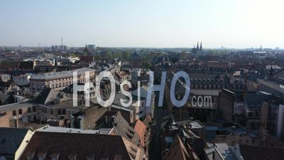 Empty City Of Strasbourg During Lockdown Due To Covid-19 - Broglie Place And City - Video Drone Footage