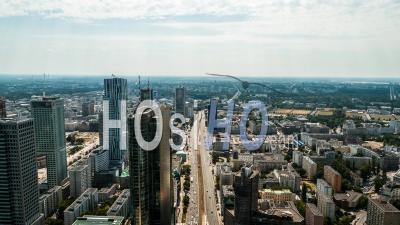 Centre-Ville De Varsovie, Aleja Jana Pawla Ii, Varsovie, Vidéo Drone