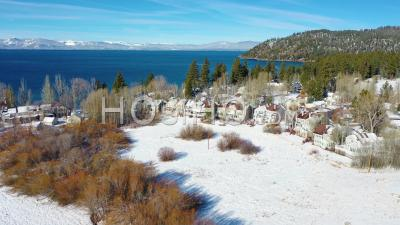 2020- Winter Snow Aerial Over Glenbrook, Nevada Community, Ranch Houses On The Shores Of Lake Tahoe Nevada. - Video Drone Footage