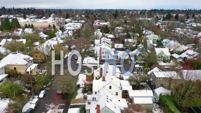Aerial Over Snowy Winter Neighborhood In Portland, Oregon. - Video Drone Footage