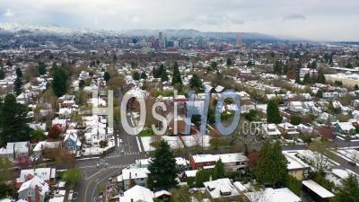Aerial Over Snowy Winter Neighborhood, Houses, Suburbs In Snow In Portland, Oregon. - Video Drone Footage