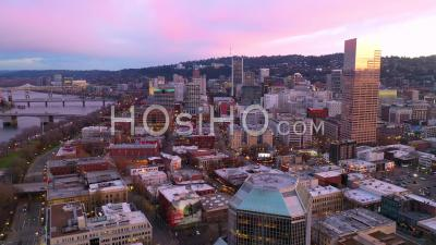 Aerial Of Downtown Business District Portland Oregon At Sunset Or Dusk. - Video Drone Footage