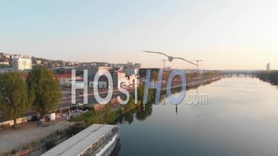 Traffic During Covid 19 Lockdown City Of Lyon - Video Drone Footage