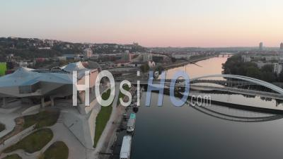Confluence District In Lyon, During Pandemic Lockdown - Video Drone Footage