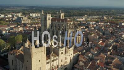 Narbonne City Hall And Cathedral - Video Drone Footage