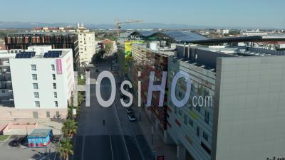 Boulevard Saint-Assiscle At Perpignan Train Station During Covid-19 - Video Drone Footage