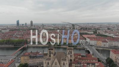 Saint Jean Cathedral In Lyon - Video Drone Footage