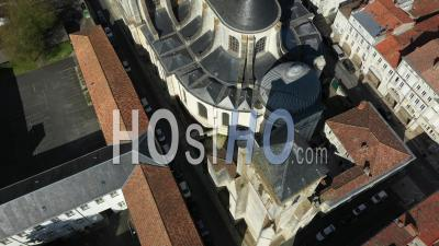 Cathedral Saint-Jean In La Rochelle Drone Point Of View During Covid-19 Outbreak