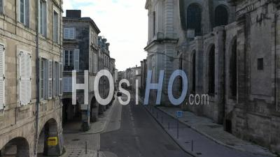 La Rochelle And Cathedral Saint-Nicolas Drone Point Of View During Covid-19 Outbreak