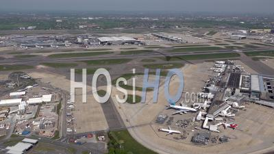 Heathrow Airport, During Covid-19 Lockdown, London Filmed By Helicopter