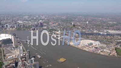 02 London Dome, North Greenwich, River Thames And Cable Car During Covid-19 Lockdown, London Filmed By Helicopter