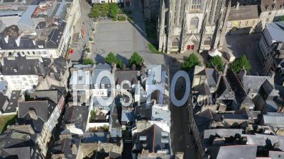 Aerial View Of Quimper During The Lockdown For Covid19 - Video Drone Footage