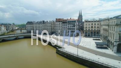 View On Bayonne City Hall And Streets, People Running During Covid-19 Lockdown, France - Video Drone Footage
