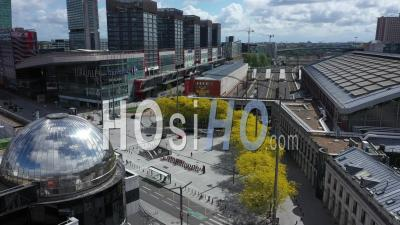 Empty City Of Lille On Labour Day During Lockdown Due To Covid-19 - Video Drone Footage