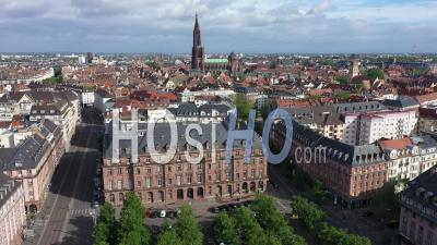 Empty City Of Strasbourg During Lockdown Due To Covid-19 - May 1st 2020, Labor Day - Place De La Bourse - Video Drone Footage