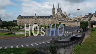Caen, In Front Of The Town Hall, And Desert Street During Lockdown Due To Covid-19 - Video Drone Footage