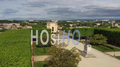 Montpellier And Its Main Esplanade During The Covid-19 Epidemic, France - Video Drone Footage