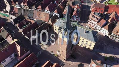 Empty City Of Obernai During Lockdown Due To Covid-19 - Beffroi - Market Place - Video Drone Footage