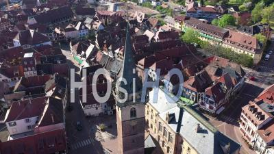 Empty City Of Obernai During Lockdown Due To Covid-19 - Beffroi - Video Drone Footage