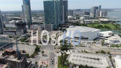 Covid-19 Aerial Footage Of Downtown Miami, American Airlines Arena. - Video Drone Footage