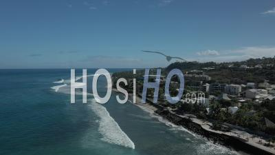 Covid-19-Empty Touristic Beach Of Roches Noires At Saint Paul, Reunion Island - Video Drone Footage