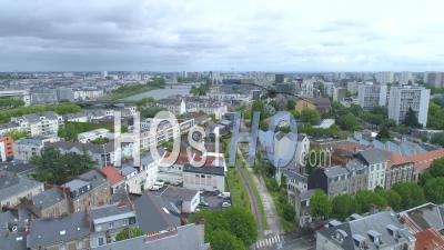 Empty Rue Paul Nizan In Nantes, On Labour Day During Covid-19 Lockdown - Video Drone Footage