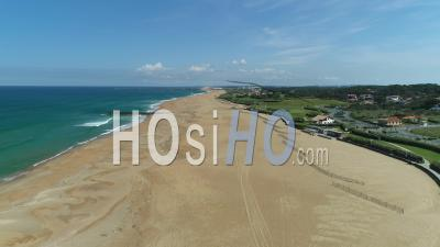 View On All Empty Beaches In Anglet During Covid-19 Lockdown, France - Video Drone Footage