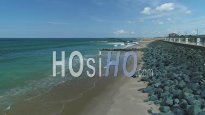 View From Les Sable D'or Beach In Anglet During Covid-19 Lockdown, France - Video Drone Footage