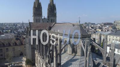 Cathedral And The Place Saint-Corentin Of Quimper At Day 25 Of Covid-19 Lockdown - Video Drone Footage