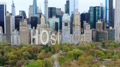 5th Avenue And Central Park Manhattan New York During Covid-19 Pandemic - Video Drone Footage