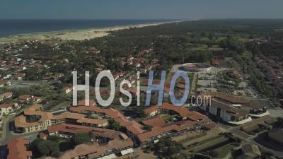 Aerial View, Arena And Village Of Vieux Boucaut Les Bains - Video Drone Footage