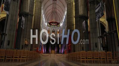 Indoor Flight In Cathedral Notre Dame De La Treille - Video Drone Footage
