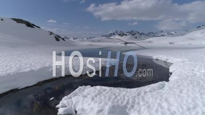 Snowy Mountain Creek, French Alps - Video Drone Footage