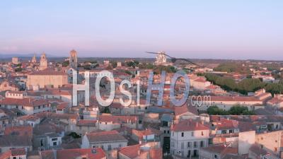 Arles And Its Luma Building, At Sunset, France - Video Drone Footage