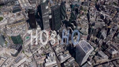 City Of London Towers During Covid-19 Lockdown, London Filmed By Helicopter