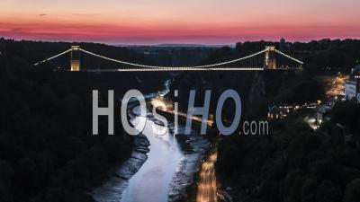 Aerial View Shot Of Bristol Uk, Clifton Suspension Bridge - Video Drone Footage