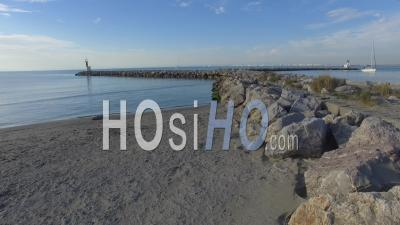 Aerial View Of The Sea Wall Defences At Port-Camargue Beach - Video Drone Footage