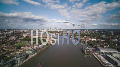 Aerial View Shot Of Canary Wharf, Sunny, Financial District, London Uk, United Kingdom - Video Drone Footage