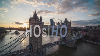 Last Rays Of Sun, Tower Bridge, Establishing Aerial View Of London Uk, United Kingdom - Video Drone Footage