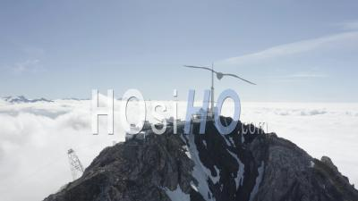 General Shot Of Pic Du Midi With Cloud Sea Viewed By Drone