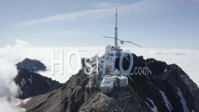 General Shot Of Pic Du Midi Above Cloud Sea Viewed By Drone