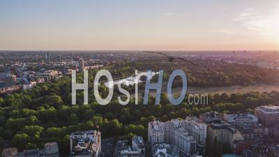 Establishing Aerial View Of London Uk, Hyde Park, United Kingdom - Video Drone Footage
