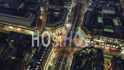 Establishing Aerial View Of London Uk, Oxford Circus, United Kingdom At Night Evening - Video Drone Footage