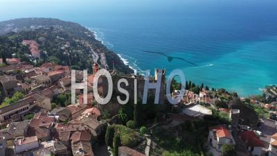 Aerial View Of The Hilltop Village Of Roquebrune Cap Martin - Video Drone Footage