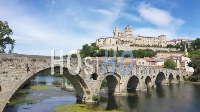Aerial View Of Beziers - Video Drone Footage