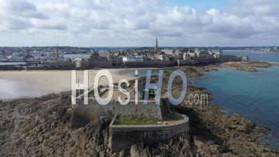 Aerial View Of Saint Malo - Video Drone Footage